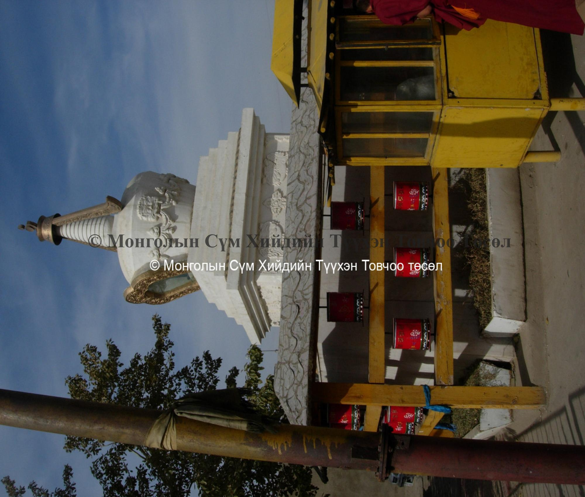 Stupa and prayer wheels to south of temple entranc