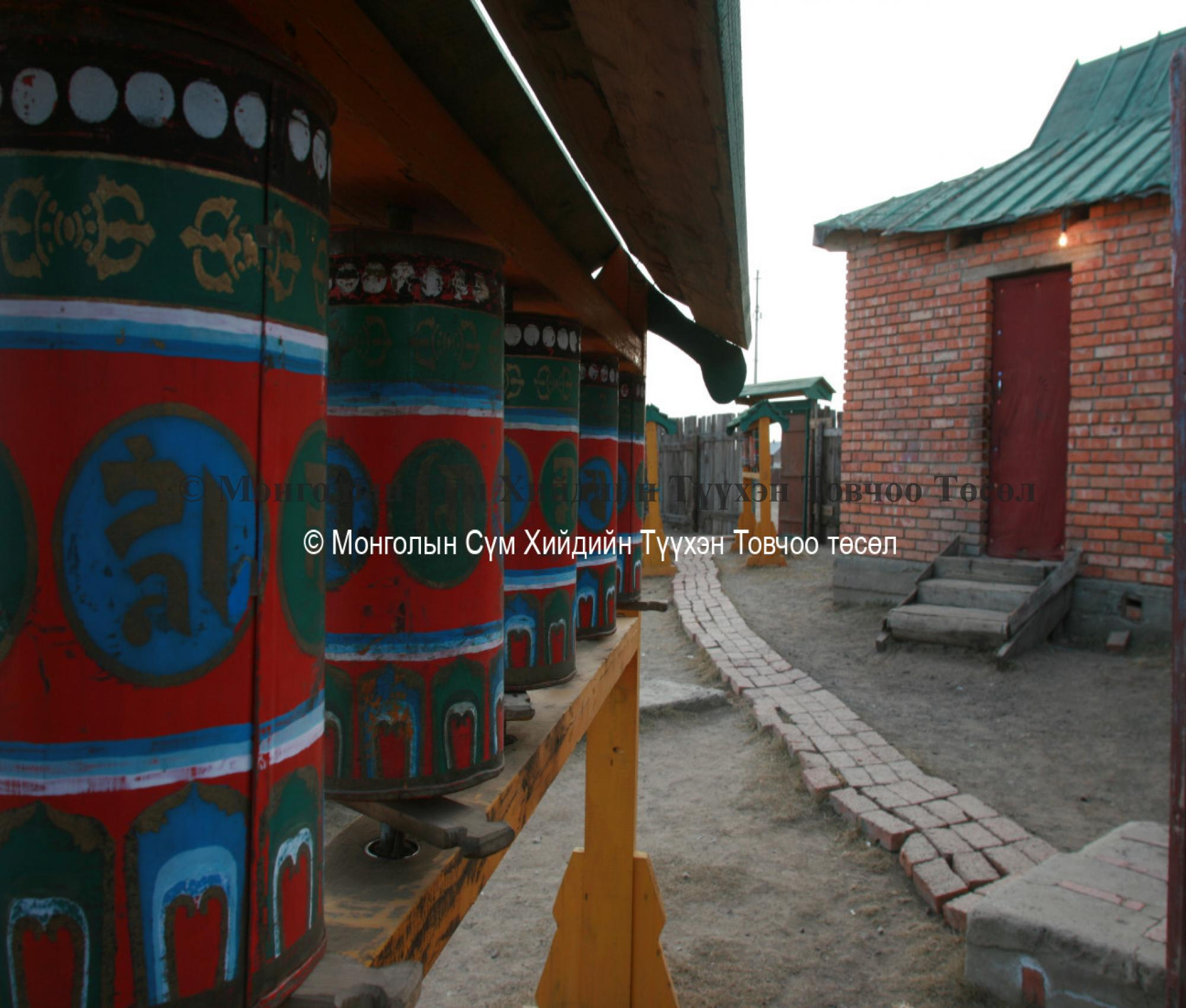 Prayer wheels in the courtyard