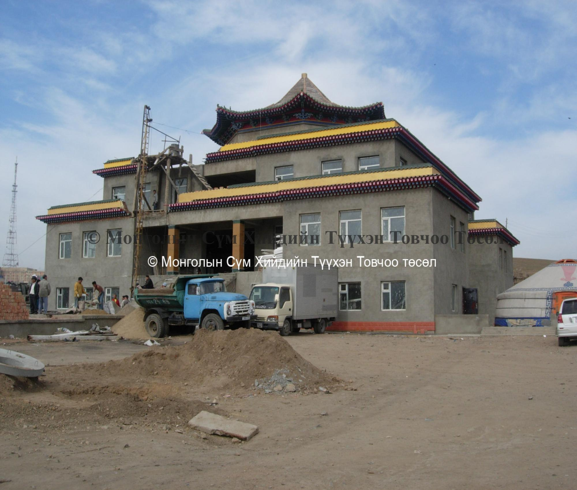 The new temple building under construction