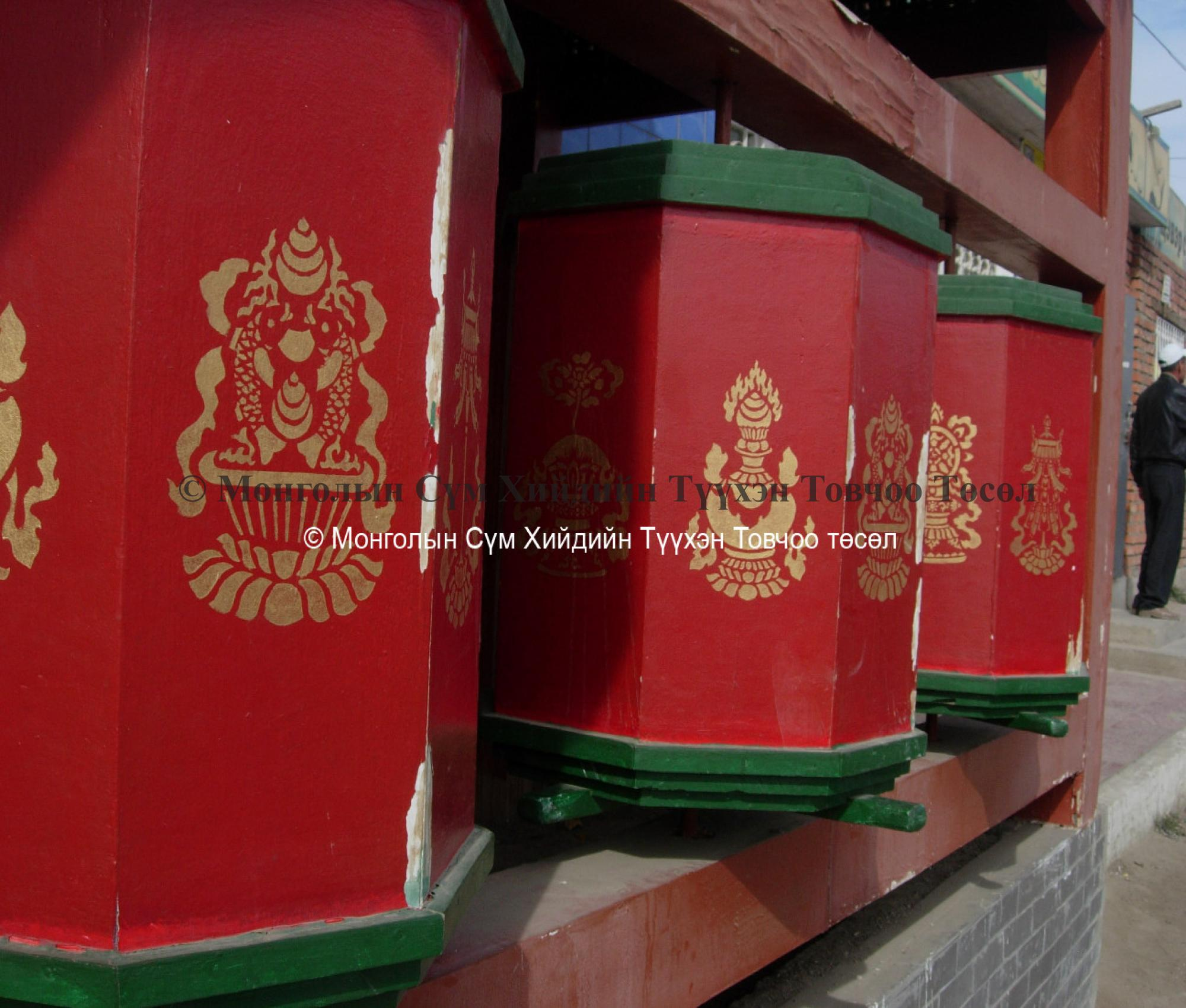 Prayer wheels in front of the temple