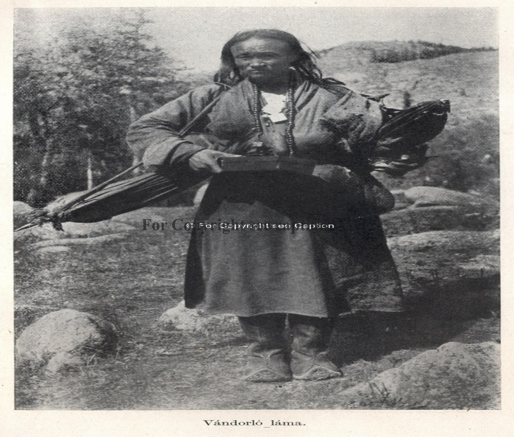 An itinerant monk carrying a camp tent in the countryside (near Manzshir Monastery ?). Forbáth, L.,
