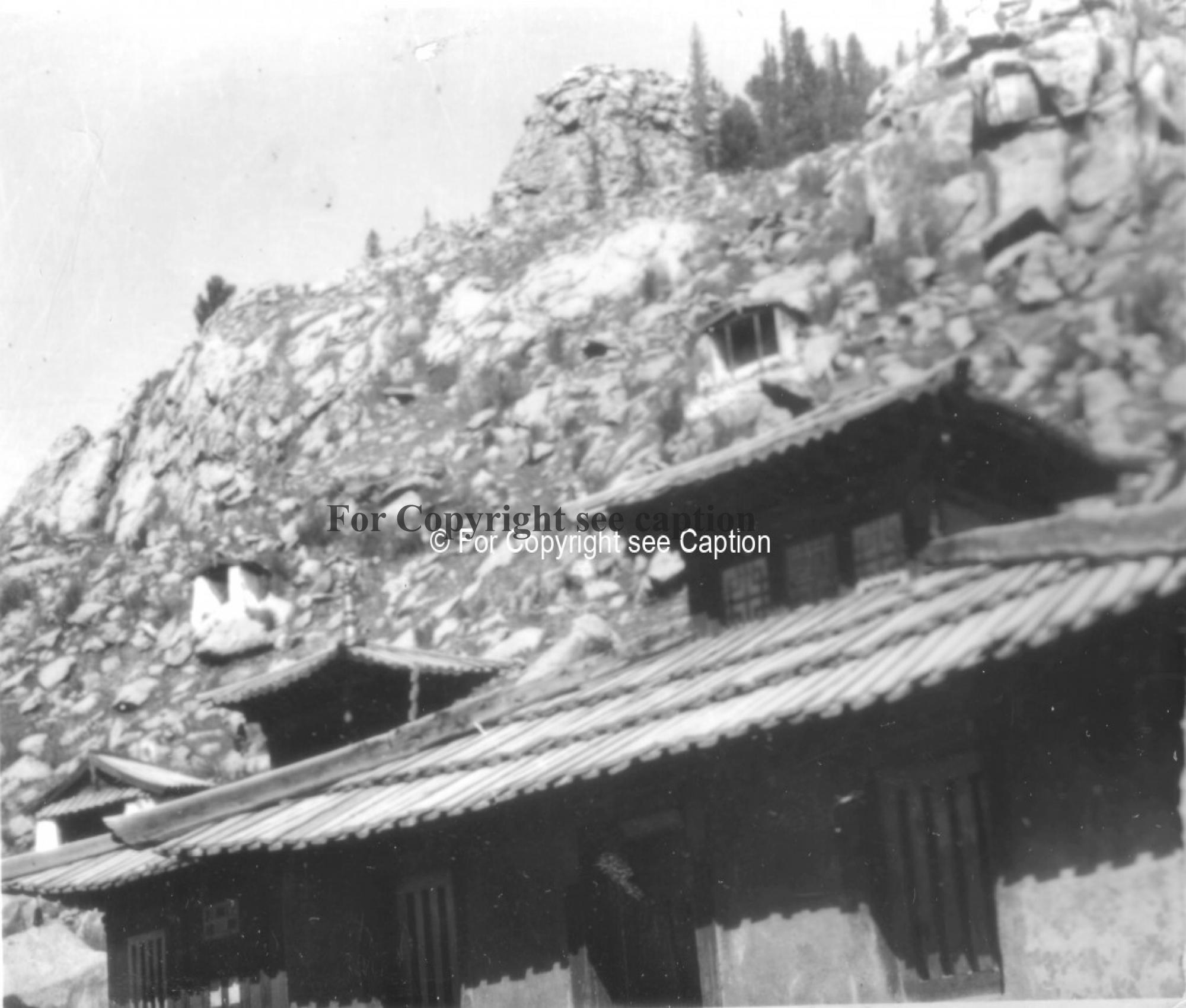 Roof of Khangaliin süm, and holy paintings of the hillside. Film Archives ?