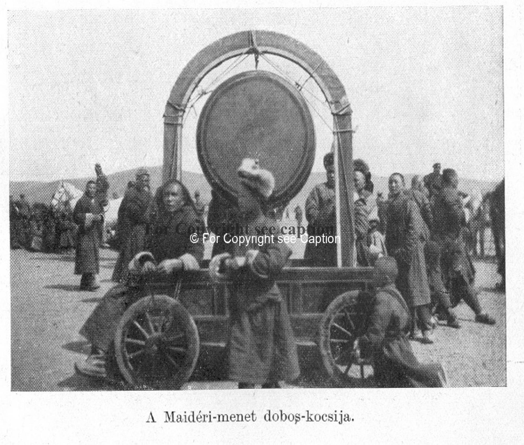 Novices with a drum during the Maitreya procession. Forbáth, L., A megujhodott Mongolia, Franklin. A