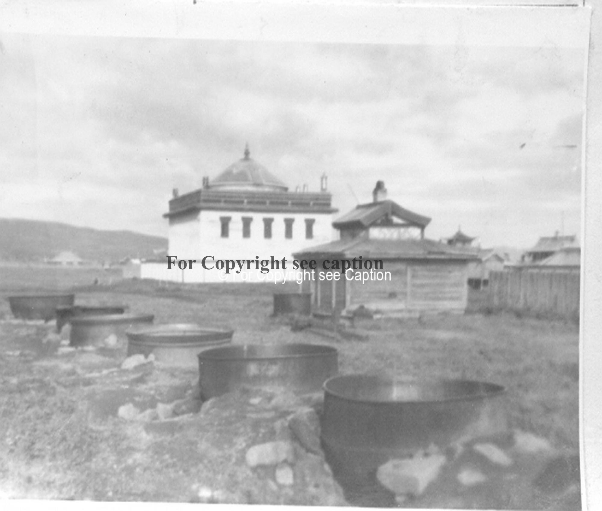 Open-air kitchen west of Maitreya temple. Film Archives K-24035