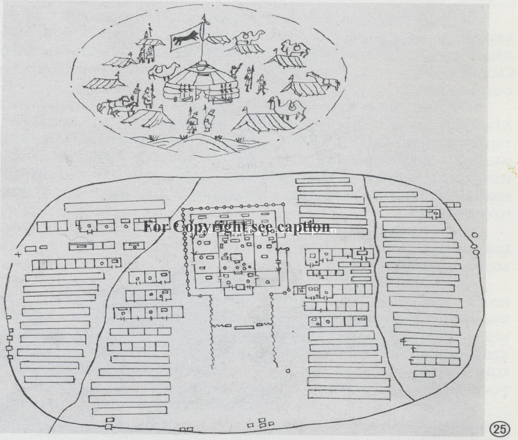 The sketch of the national planning of the Khüree. Tsültem, N., Mongolian Architecture. Ulaanbaatar