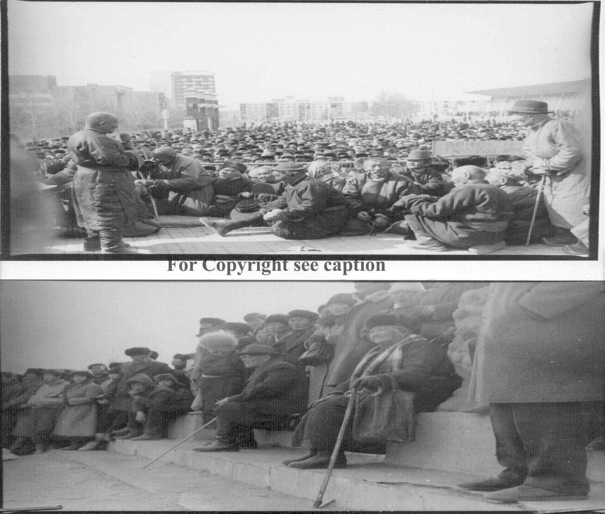 Gathering of devotees to put Choijin Lamiin süm to religious use again. 1990. Film Archives K-44898