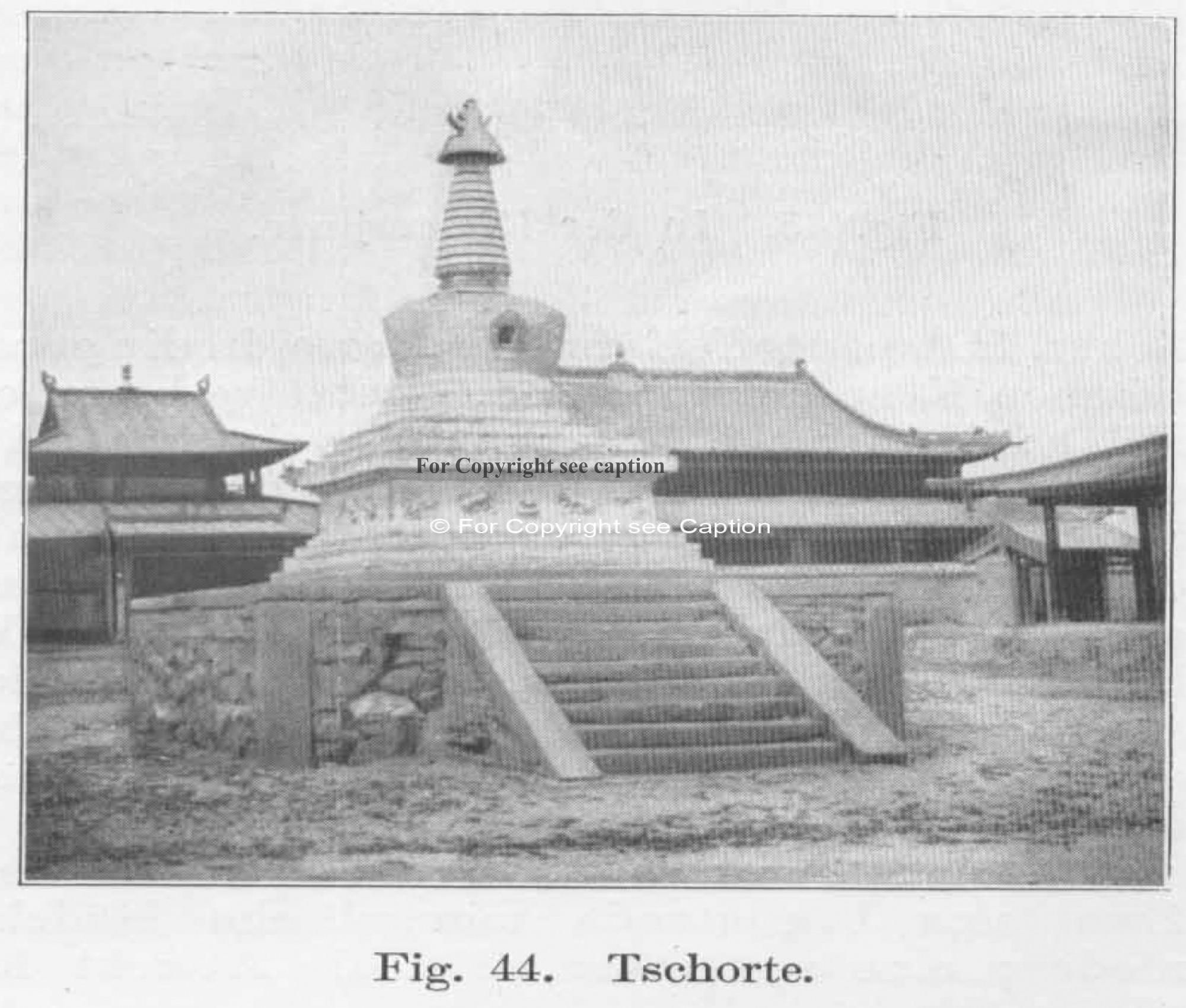 A stupa in front of the temples. Paquet, Dr. Alfons, Südsibirien und die Nordwestmongolei. 1909. p.