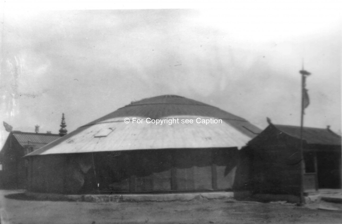 Yurt-shaped aimag temple. Film Archives ?; Tsültem, N., Mongolian Architecture. Ulaanbaatar 1988, 25