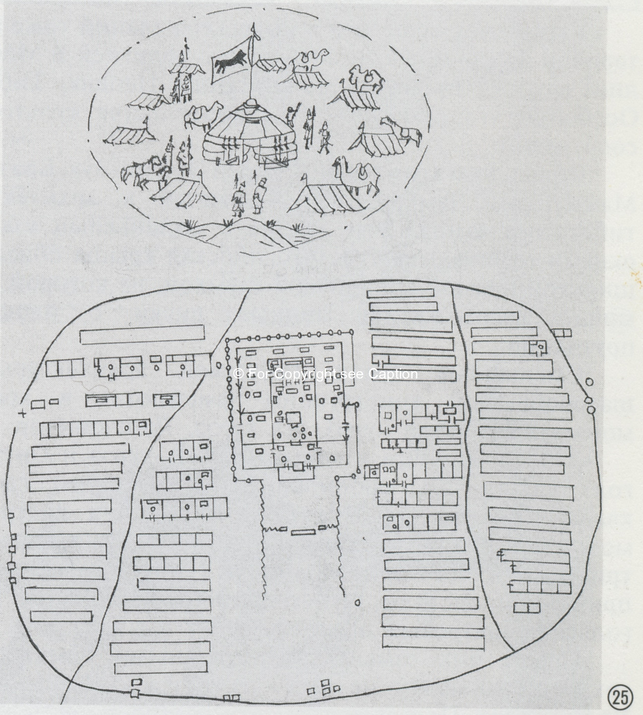 The sketch of the national planning of the Khüree. Tsultem, N., Mongolian Architecture. Ulaanbaatar